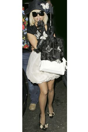 black blouse - white skirt - black shoes - white bag - black sunglasses - black