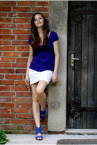 blue Bianco shoes - blue Zara blouse - white Cerruti skirt