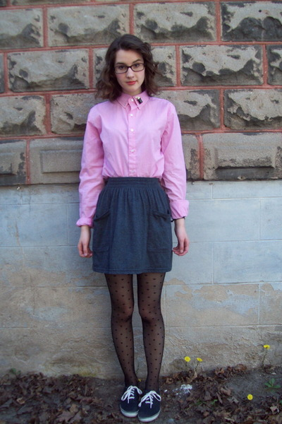 pink American Apparel blouse - gray American Apparel skirt - black American Appa