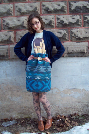 blue thrifted cardigan - blue Of Montreal concert tee shirt - blue thrifted skir