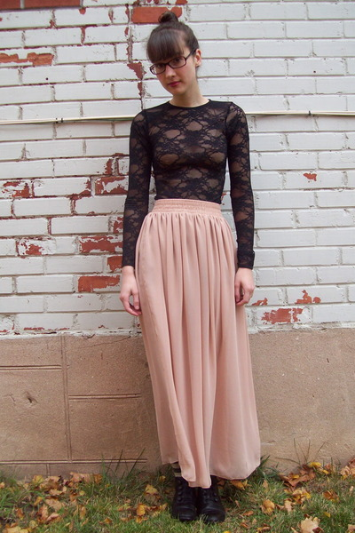 black American Apparel dress - beige American Apparel skirt - black thrifted boo