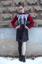 black rodarte x target dress - black Dr Martens boots - red thrifted shirt