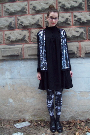 silver consignment store jacket - black Secondhand dress - black American Appare