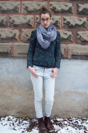 silver American Apparel scarf - blue Knit by me sweater - silver Cheap Monday je