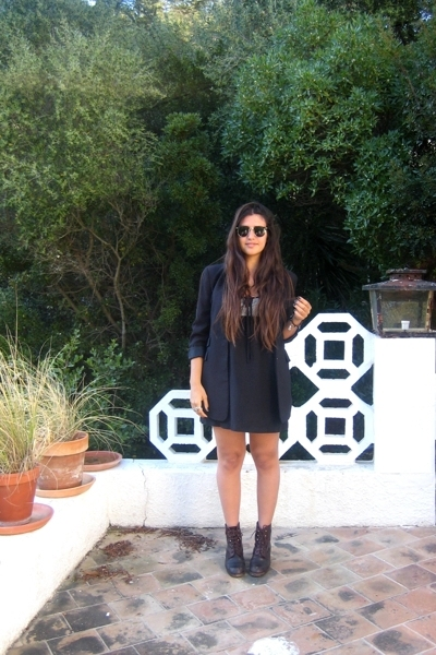 black long Zara blazer - brown vintage boots - black lbd Zara dress