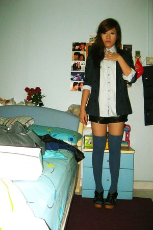 Topshop dress - Topshop blazer - Forever21 shorts - aa socks - go jane shoes