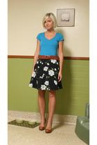 shirt - skirt - Nine West shoes - belt
