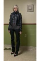 Bebe jacket - shirt - Wet Seal jeans - Target shoes - forever 21 scarf