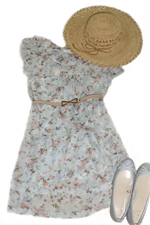hat - dress - flats - belt
