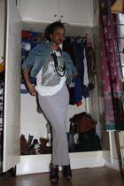 silver Fransa skirt - white shirt - blue Primark jacket - black River Island sho