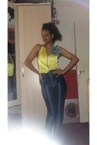yellow Miss Selfridges top - American Apparel pants