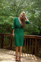green vintage dress - brown Cynthia Vincent for Target - black necklace
