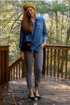 yellow Forever 21 hat - blue Walmart blouse - gray Walmart pants - black Marc by