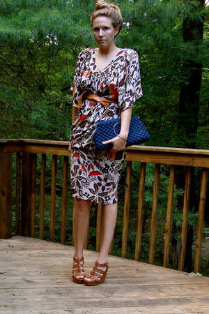 vintage 70s safari dress - vintage - cognac wedges Cynthia Vincent for Target