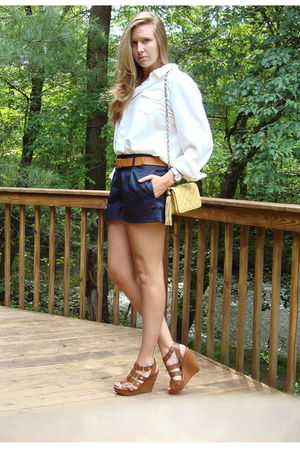 brown wedges Cynthia Vincent for Target shoes - gold thrifted Chanel bag