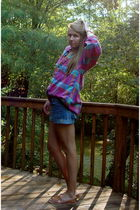 pink thrifted mens flannel shirt - blue H&M shorts - brown Urban Outfitters shoe