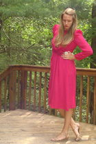 pink vintage dress - gold shoes - white accessories