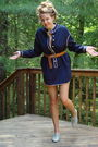 Blue-vintage-60s-dress-brown-h-m-belt-gray-steve-madden-shoes
