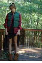 green vintage LL BEAN vest - red thrifted shirt - black vintage nightgown dress