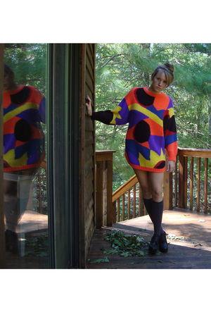 orange vintage sweater - gray Forever 21 socks - black Forever 21 shoes