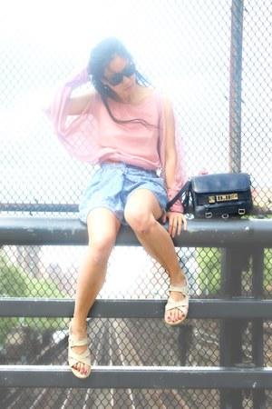 sheer thrifted vintage blouse - ps11 PROENZA SCHOULER bag - Forever 21 shorts
