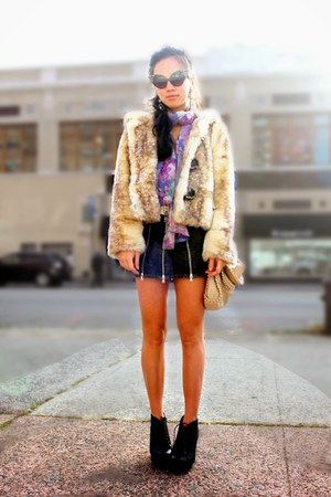 Dolce & Gabbana skirt - Barefeetshoes boots - fur hoodie Forever 21 jacket