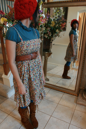 brown Minnetonka boots - blue Walmart blouse - brown thrift belt - red Forever 2