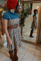brown Minnetonka boots - blue Walmart blouse - brown thrift belt - red Forever 2