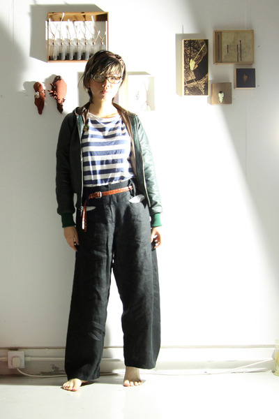forest green vintage jacket - black Liviana Conti pants - brown Zara accessories