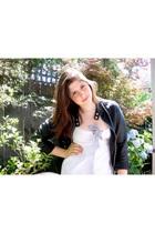 white Mink Pink dress - black vintage jacket