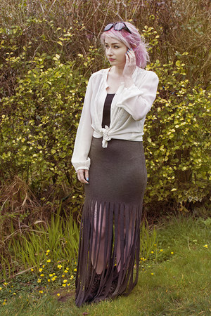 charcoal gray DIY skirt - black tesco vest - white vintage blouse