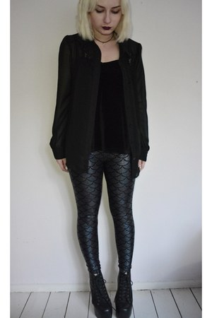 black leather Jeffrey Campbell boots - dark gray Golstitches leggings