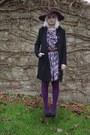 Purple-primark-dress-black-next-coat-deep-purple-primark-hat