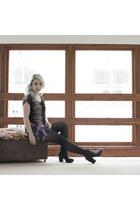 black Ebay boots - deep purple Black Milk dress - gray Primark top