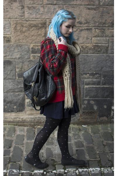 black Primark bag - ruby red Ralph Lauren jumper - navy Urban Outfitters skirt
