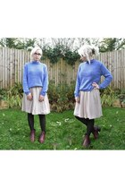 blue Goodwill jumper - maroon new look boots - eggshell Get The Label dress