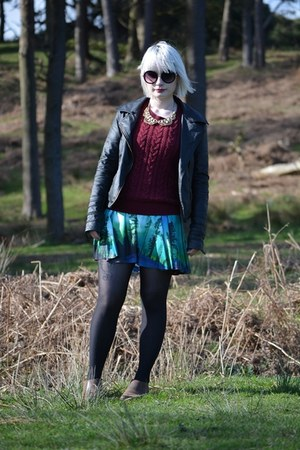 black River Island jacket - deep purple Black Milk dress - crimson H&M sweater