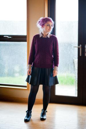 periwinkle Primark shirt - maroon H&M jumper - black Primark skirt