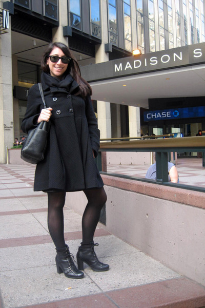 black Urban Outfitters coat - black kate spade accessories - black Target tights