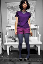 black thrifted shoes - purple thrifted shirt - navy tights - amethyst JCrew shor