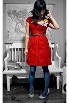 red Anthropologie dress - navy tights - light blue Urban Outfitters heels