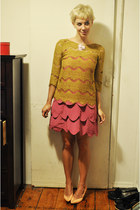 bubble gum AKA dress - mustard Zara top - pink thrifted vintage heels
