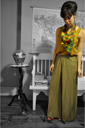 orange vintage scarf - olive green asos pants - mustard J Crew blouse - coral Co