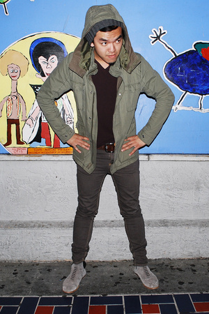 gray suede Opening Ceremony shoes - brown Cheap Monday jeans - green H&M jacket