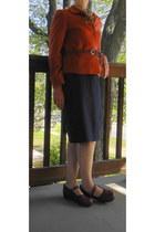 tawny casual corner jacket - beige Cabelas blouse - navy Gap skirt - dark brown