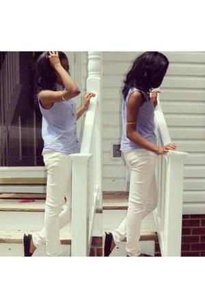 black TOMS shoes - beige cotton on jeans - light blue Walmart shirt