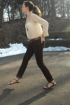 brown shoes - gold Forever 21 necklace - brown delias pants - beige vintage top
