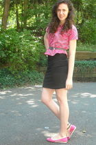 black Forever 21 skirt - pink vintage top