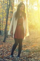 brick red vintage skirt - beige vintage - silver kohls shoes