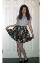 black oxfords shoes - black H&M skirt - gray vintage blouse